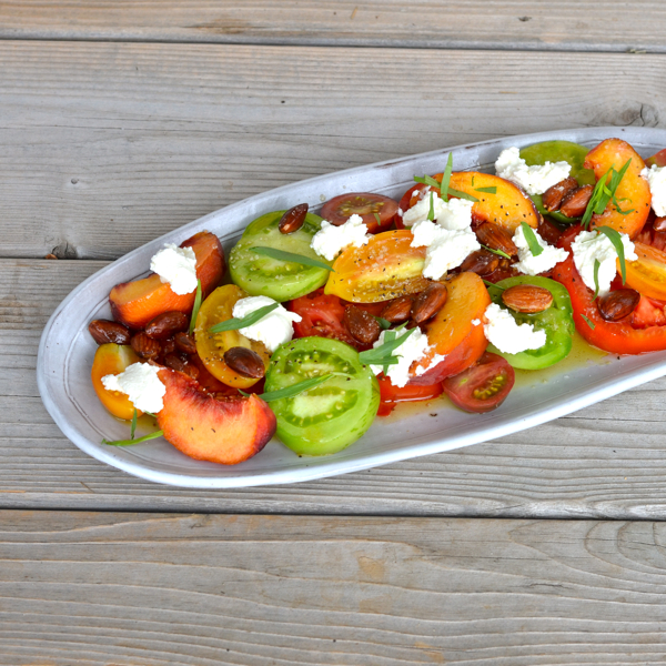 Tomatoes and Peaches with Ricotta and Fried Almonds ...